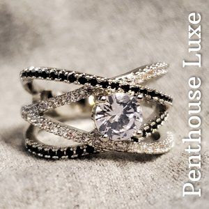 Sterling Silver Diamond Pave Criss Cross Ring